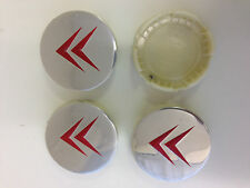 Set of 4 CITROEN Face 58mm Clip 54mm ALLOY WHEELS CENTER CAPS SET  Chrome / Red