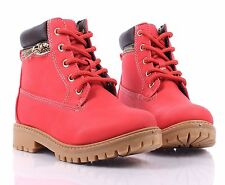 4 Color Lace Up Preschool Girls Military Boots Kids Ankle Bootie Youth Size Shoe