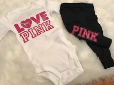 Baby Girl, Size Newborn , Love Pink Outfit, 3pc Set, Clothes Lot