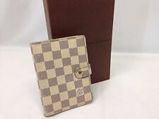 Auth LOUIS VUITTON Azur Agenda PM Notebook Cover Leather 6C300900