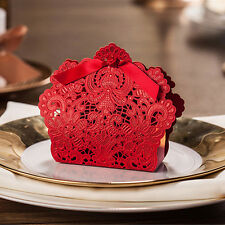 10Pcs Wedding Favor Box Gift Bags Rose Laser Cut Candy Box with Ribbon
