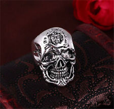 men's Stainless Steel Silver Mens Punk Pirate Evil Skull Cool Rings Size-9