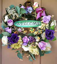 Handmade Purple Grapevine Holiday or Everyday Lavender Floral WELCOME Wreath