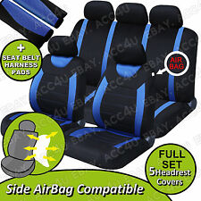 Carnaby Blue Black Mesh Car Side Airbag OK Seat Covers Set + 2 Shoulder Pads