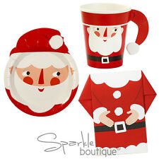 LUXURY SANTA PARTY SET -PLATES/NAPKINS/CUPS- Father Christmas Design-Xmas Buffet