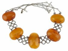 Art Deco 835 Silber Amber Butterscotch Bernstein 琥珀 العنبر  Collier