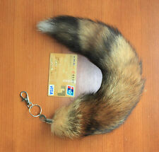 Real 38cm Red Fox Tail Fur Handbag Accessory Key Chain Ring Hook Cosplay Toy