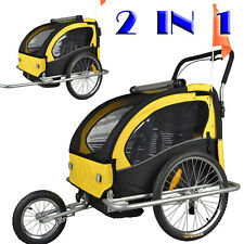 New Double Kids 2 in 1 Bike Trailer Jogger Child Baby Bicycle Carrier 50204