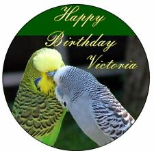 """Budgie PERSONALIZED 7.5"""" Sugar Cake Topper Birthday Decoration Icing Birds"""