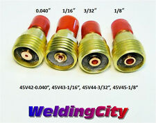 "4-pk Gas Lens Collet Body 45V42 45V43 45V44 45V45 (040""-1/8"") TIG Torch 9/20/25"