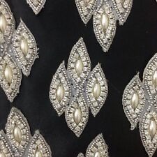 Pearl Silver Ivory Applique,Motif,edging,trim,sequins,beads (4.5 x 8cm Approx)