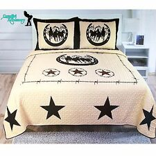 3Pcs Texas West Star Barbwire Horse Cowboy Quilt BedSpread Comforter Style King