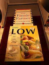 "2 NICE COOKBOOKS ""FANNIE FARMER"" ""1000 LOW FAT SALT SUGAR CHOLESTEROL RECIPES"""