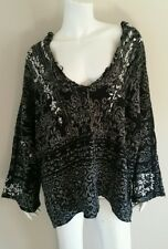 FREE PEOPLE Charcoal Grey Chunky RAGGY V NECK Hooded Sweater NWT sz XS $168