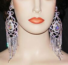 "SILVER AB IRIDESCENT RHINESTONE CRYSTAL 6.1/2"" LONG CHANDELIER EARRINGS"