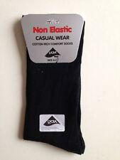 Onorevoli Diabetici senza Elastico cotone Casual Wear Calze Nero Taglia 4-6