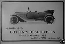 PUBLICITÉ 1915 AUTOMOBILES COTTIN & DESGOUTTES USINES LYON MAISON À PARIS