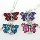 Brand New Cute Butterfly Pendant Necklace Quartz Watch Xmas gift GL36
