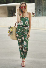 ZARA GREEN FLORAL PRINTED FLOWING JUMPSUIT PLAYSUIT SIZE SMALL S  BLOGGERS BNWT