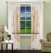 Curtain Drape New Valances Ombre Mandala Gold Tulle Indian Voile Door Window Set
