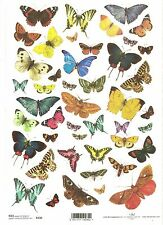 Rice Paper for Decoupage Scrapbooking, Colourful Butterflies ITD R230