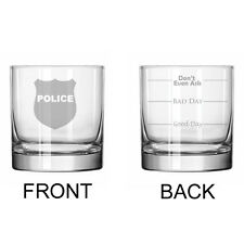 11oz Rocks Whiskey Highball Glass 2 Sided Police Officer Detective