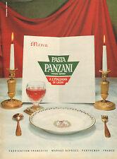 Publicité 1962  Pates à l'italienne PASTA PANZANI