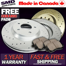 Z0988 FITS 2001 2002 2003 FORD TAURUS DRILLED BRAKE ROTORS CERAMIC PADS FRONT