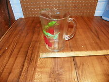 Vintage 50's Glass Juice Pitcher w Painted Cherries