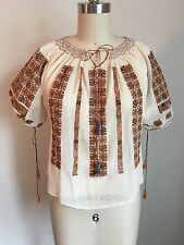 Vintage 1920s Blouse /Folk Romanian Embroidered Peasant Blouse Hand Made Antique