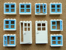 LEGO windows and doors for house (pack of 10) 2x4x3 white blue BRAND NEW