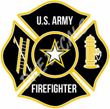 "U.S. Army Firefighter Maltese Cross Decal - 4"" high"