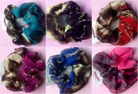 LEOPARD ANIMAL PRINT CHIFFON ELASTIC HAIR SCRUNCHIE PONYTAIL BAND COLOUR CHOICE