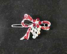 Womens Bow Hair Clip Barrette SILVER Tone RED Crystal Rhinestones SPARKLE I
