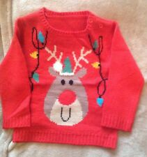 M and Co Reindeer Christmas Jumper With light up nose age 9-12 months