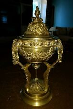 """Antique Beautiful Heavy Bronze/Brass Covered Urn 12.5"""" Tall 4.5"""" Wide Bowl"""
