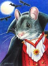 ACEO Limited Edition Print Halloween Costume Mouse Vampire Bats Moon J. Weiner