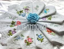 6Pcs Women Lady Vintage Cotton Embroidered Flower Lace Hankies Floral Assorted