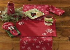 Park Designs Snow Fall Snowflake Embroidered Placemat  ~  NEW