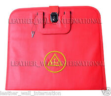 CUSTOM HAND EMBROIDERED MASONIC ROYAL ARCH APRON CASE RED (SILVER)