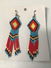 Native American Navajo Beaded Dangle Earrings Lucille Romone Jewelry Beautiful;;