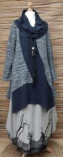 LAGENLOOK*KEKOO*COTTON MIX BEAUTIFUL A-LINE JERSEY TUNIC*NAVY MARL*Size 36-38-40