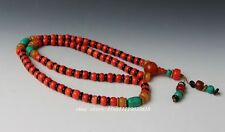 China Collectibles Handwork Old Coral&Turquoise Toyed Prayer Bead Necklace NX2