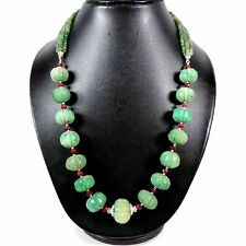 650 CTS NATURAL RUBY FACETED EMERALD FLORAL CARVED BEADED NECKLACE 22""