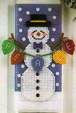 SNOWMAN DOOR HANGER CHRISTMAS PLASTIC CANVAS PATTERN INSTRUCTIONS ONLY