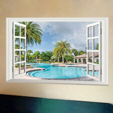 Large Resort Holiday Beach Wall Decal Art Mural Home Bedroom 3D Window Stickers