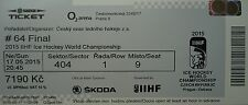 mint TICKET Finale Eishockey WM 17.5.2015 Canada - Russland in Prag