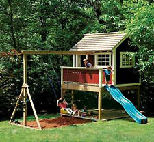 Kids Outdoor Wooden Cubbyhouse Playhouse Swing Set -Detailed Plan!!!