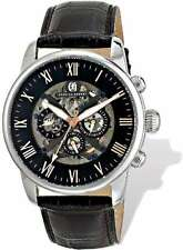 Mens Charles Hubert Stainless Leather Band 46mm Automatic Handwind Watch