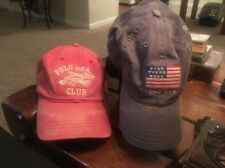 Polo USA Lot Of 2 Hats Both Used Polo Beach Club And Flag Hat Look